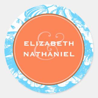 Luxe Floral Wedding Sticker in Blue & Orange