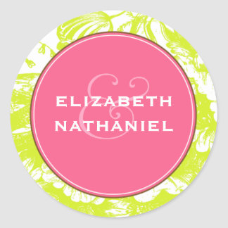 Luxe Floral Wedding Sticker in Green & Pink