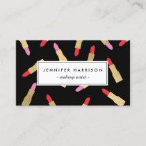 Luxe Glam Lipstick Pattern on Black Makeup Artist Business Card