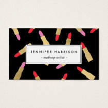 Luxe Glam Lipstick Pattern on Black Makeup Artist Business Card