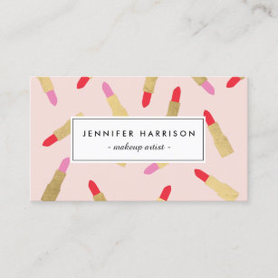 Lipstick business cards templates zazzle luxe glam lipstick pattern on pink makeup artist business card colourmoves