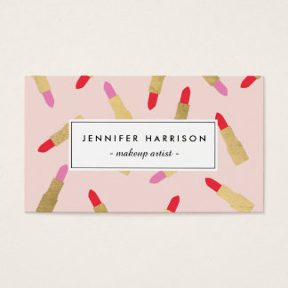 Luxe Glam Lipstick Pattern on Pink Makeup Artist Business Card