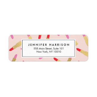 Luxe Glam Lipstick Pattern on Pink Makeup Artist Label