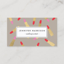 Luxe Glam Lipstick Pattern on Taupe Business Card