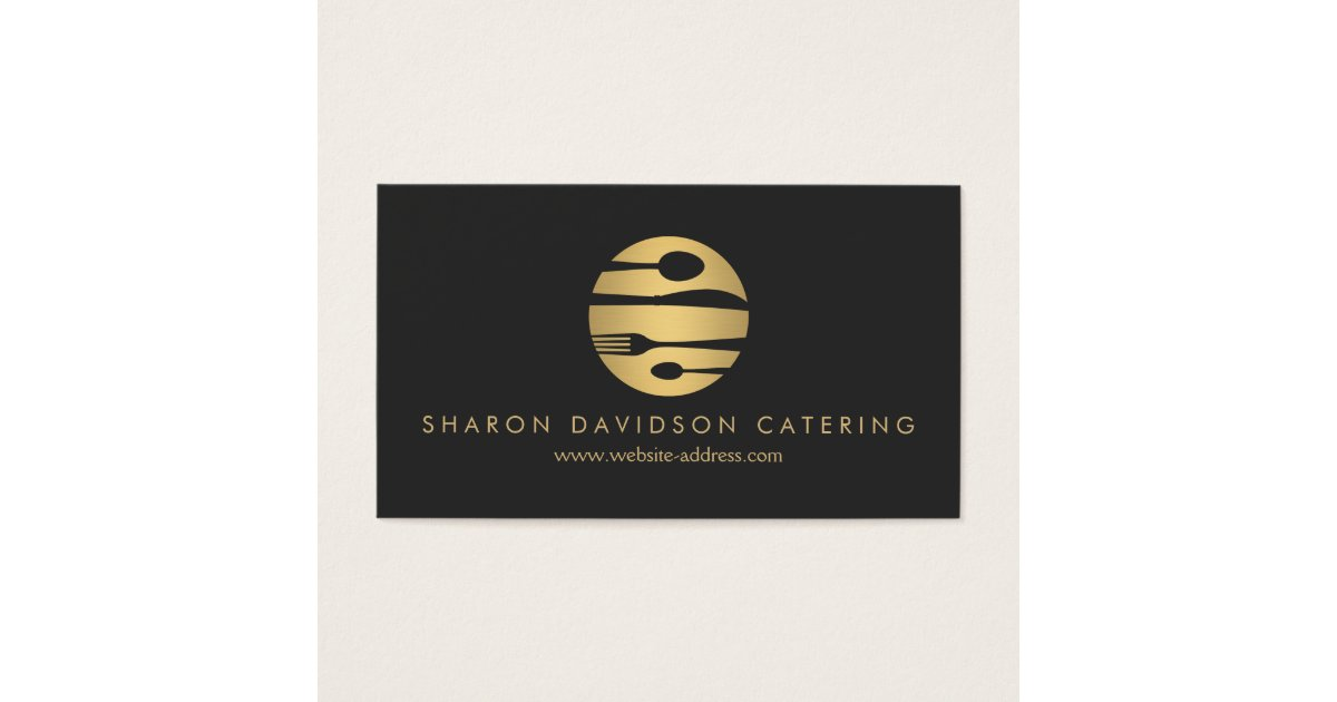 Luxe Gold and Black Catering, Restaurant, Chef Business Card ...