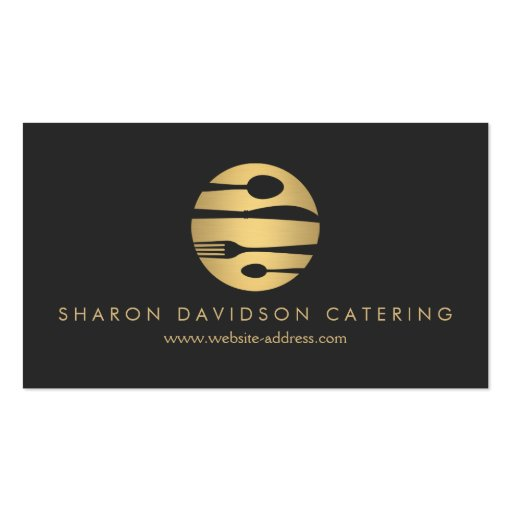 Luxe Gold and Black Catering, Restaurant, Chef Double-sided Standard Business Cards (pack Of 100)