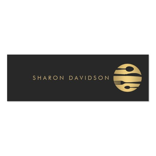 Luxe Gold and Black Catering, Restaurant Thin Business Cards