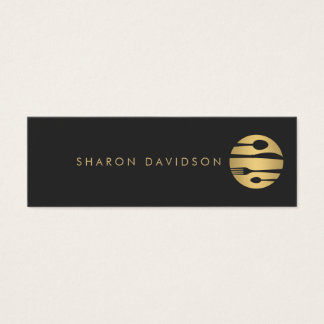 Luxe Gold and Black Catering, Restaurant Thin Mini Business Card