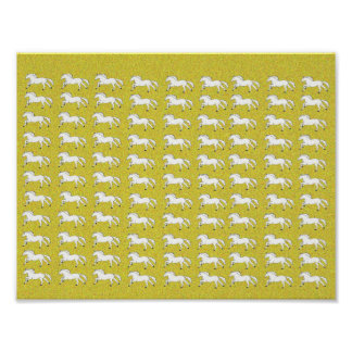 Luxe Gold, Simple & Beautiful Hand Drawn Horses Poster