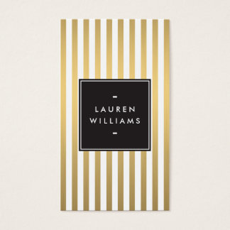 Luxe Gold Stripes Boutique, Fashion, Beauty Business Card