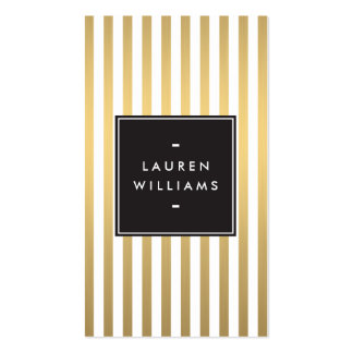 Luxe Gold Stripes Boutique, Fashion, Beauty Double-Sided Standard Business Cards (Pack Of 100)