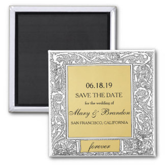 Luxe Gold Vintage Forever Wedding Save the Date Magnet