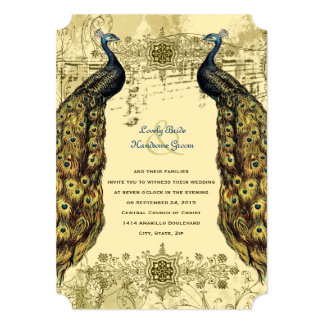 Luxe Golden Peacock Ornate Wedding Invitation