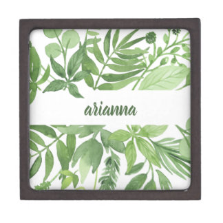 Luxe Leaves   Green Botanical Frame Jewelry Box