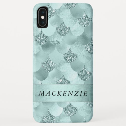 Luxe Mermaid Scales | Aqua Mint Teal Monogram Phone Case