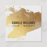 """LUXE MINIMALIST glam faux gold foil splash Square Business Card<br><div class=""""desc"""">[ NOTE - THE SHINY GOLD EFFECT IS A PRINTED PICTURE ] A fresh and fashionable design for your business image - Perfect for many professions looking for that visual creative edge over their competitors to stand out from the crowd! Easy to customize with your own text - make it...</div>"""