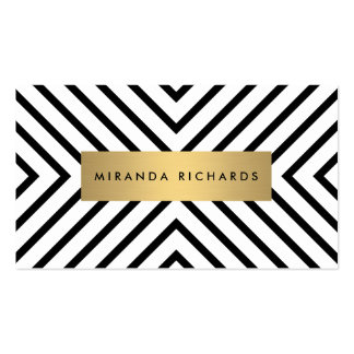 Luxe Mod Black and White Pattern with Gold Bar Double-Sided Standard Business Cards (Pack Of 100)