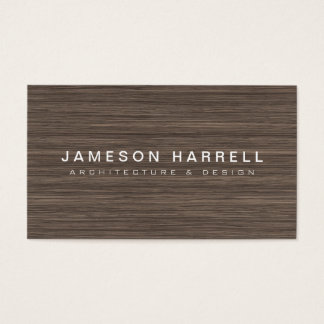 Luxe Modern Brown Wood Background Business Card