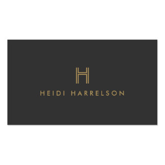 LUXE MODERN GOLD and GRAY INITIAL MONOGRAM LOGO Business Card Templates