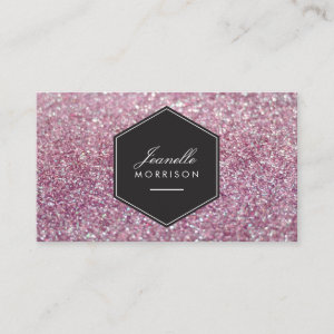 Luxe Pink Glitter Beauty Business Card