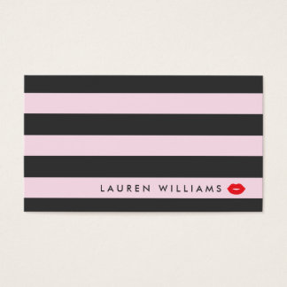 Luxe Pink/Gray Stripes Red Lips Makeup Artist Business Card