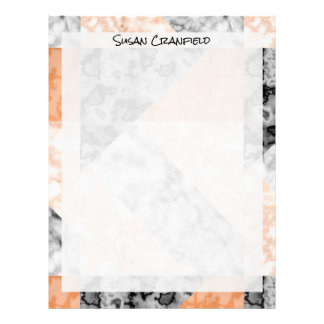 Luxe Pink Rose Coral Marble Abstract Collage Letterhead