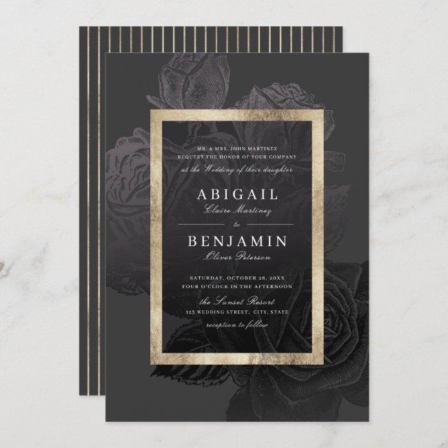 Luxe rose black gold vintage botanical wedding invitation