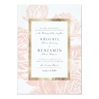 Luxe rose blush gold vintage botanical wedding invitation