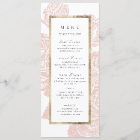 Luxe rose blush gold vintage botanical wedding menu