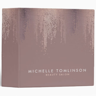 Luxe Rose Gold Confetti Rain Pattern Binder