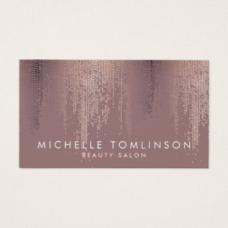 Luxe Rose Gold Confetti Rain Pattern Business Card