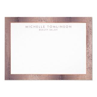 Luxe Rose Gold Confetti Rain Pattern Flat Notecard