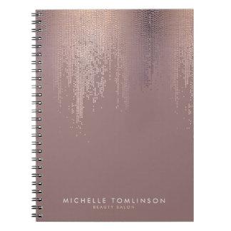 Luxe Rose Gold Confetti Rain Pattern Notebook