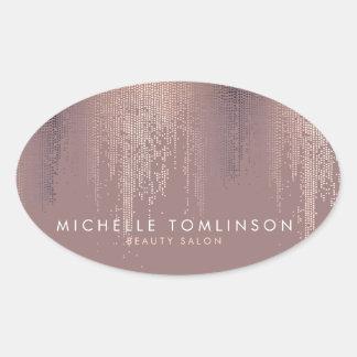 Luxe Rose Gold Confetti Rain Pattern Oval Sticker