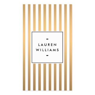 Luxe Rose Gold Stripes Boutique, Fashion, Beauty Double-Sided Standard Business Cards (Pack Of 100)