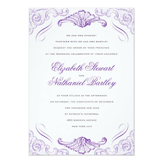 Luxe Scrolls Wedding Invitation Purple