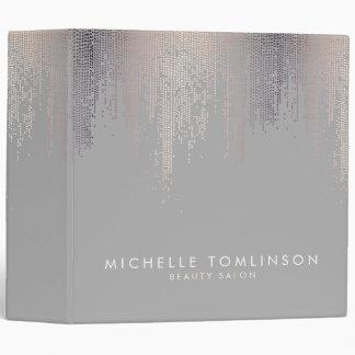 Luxe Shimmer Look Confetti Rain Pattern Gray Binder
