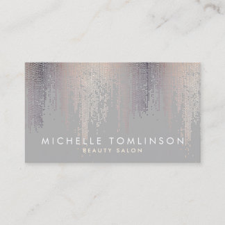 Luxe Shimmer Look Confetti Rain Pattern Gray Business Card