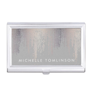 Luxe Shimmer Look Confetti Rain Pattern Gray Business Card Holder