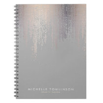 Luxe Shimmer Look Confetti Rain Pattern Gray Notebook