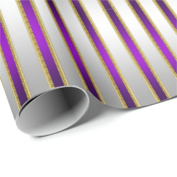 Luxe Shiny Silver and Royal Purple Stripes Wrapping Paper