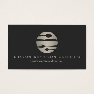Luxe Silver and Black Catering, Restaurant, Chef Business Card