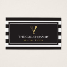 Luxe Striped Gold Whisk Spoon Logo Bakery, Chef Business Card at Zazzle