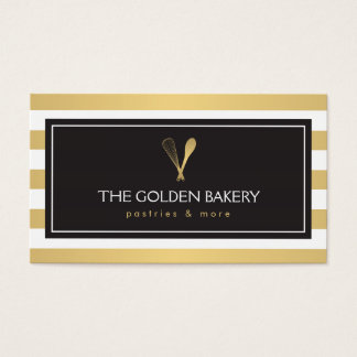 Luxe Striped Gold Whisk Spoon Logo Bakery, Chef II Business Card