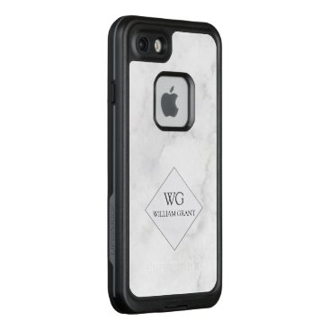 Professional Business Luxe Upsscale White Marble Letter  Name Monogammed LifeProof FRĒ iPhone 7 Case