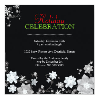 Luxe Winter Floral Holiday Party Invitation