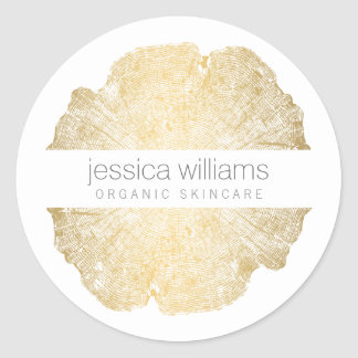 Luxe Wood Effect Art Classic Round Sticker