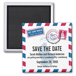 Luxembourg Air Mail Wedding Save the Date Magnets