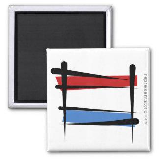 Luxembourg Brush Flag Magnet