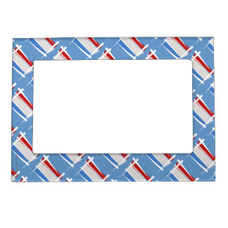 Luxembourg Brush Flag Magnetic Photo Frame